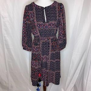 LOFT Long Sleeve Floral Pattern Dress
